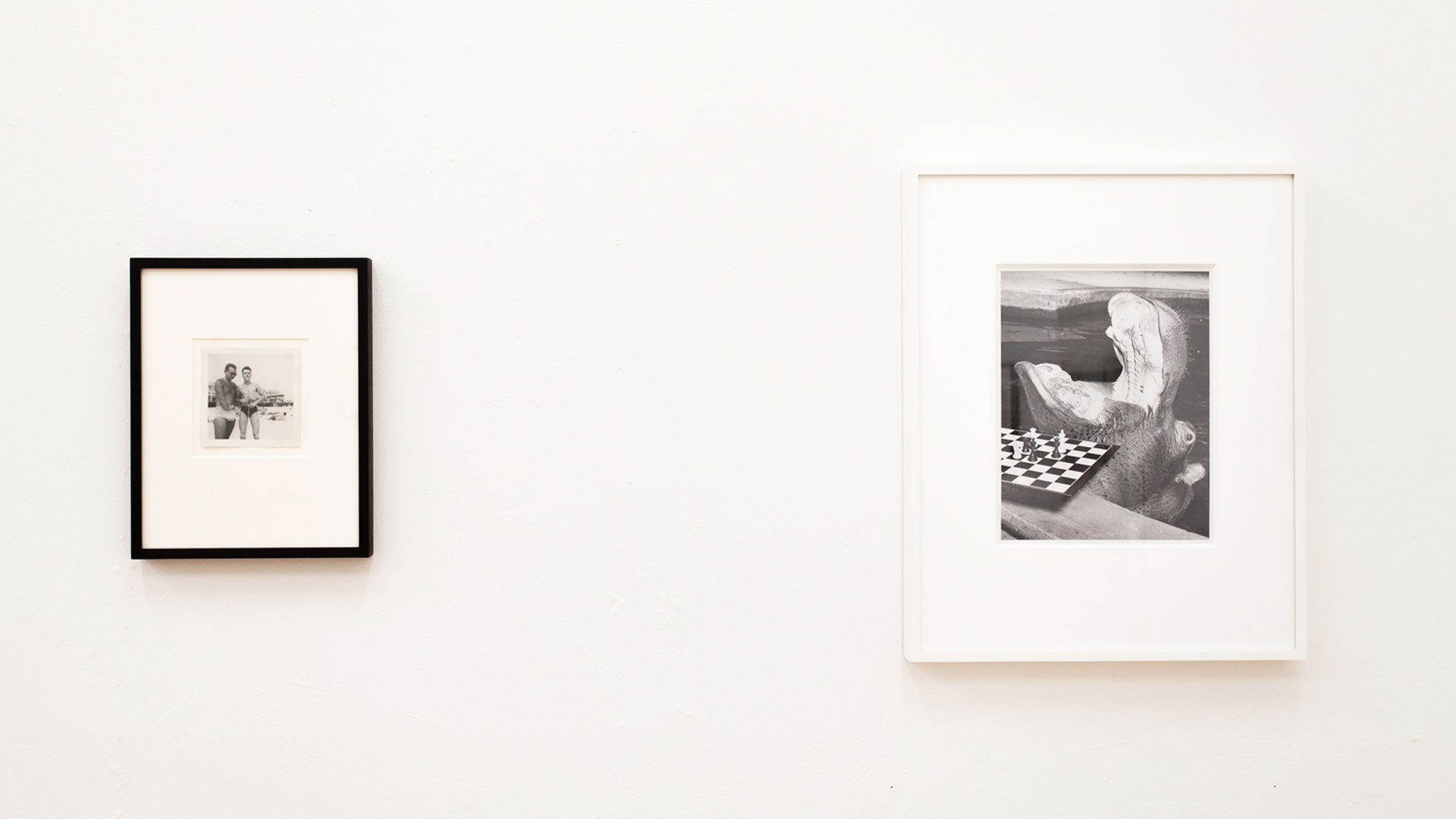 Installation view of 'Fries With That...?' L: Photographer unknown, [Men in swim trunks], ca. 1950; R: Photographer unknown, 'Untitled,' ca. 1960.