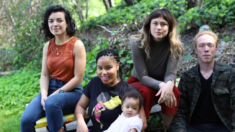 Left to right: Long Road Society signees Aviva le Fey, Karen Less, Mikayla McVey and Sitka Sun bandleader Patrick Murphy.