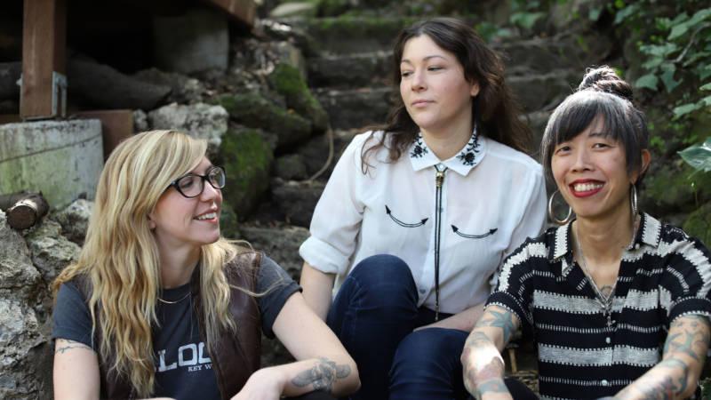 Left to right: Hall McCann, Sarah Rose Janko and Jasmyn Wong of Long Road Society act Dawn Riding.