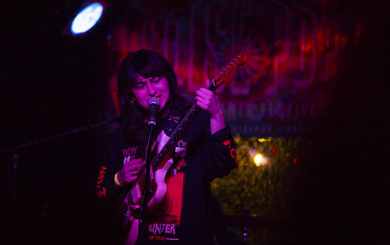 King Woman's Kristina Esfandiari returns to the Bay to perform a rose tinted set with her solo project Miserable on night two of the 2019 Noise Pop Music and Arts Festival at Bottom of the Hill.