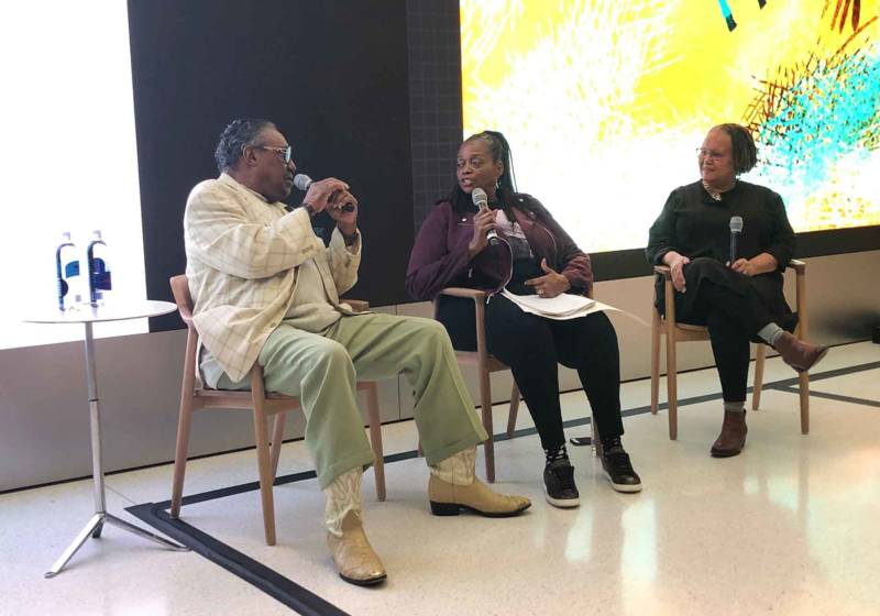 Ayodele Nzinga (center) moderates a panel at the Apple store in San Francisco with musician Tom Bowden (left) and filmmaker Cheryl Fabio (right) in February 2019.