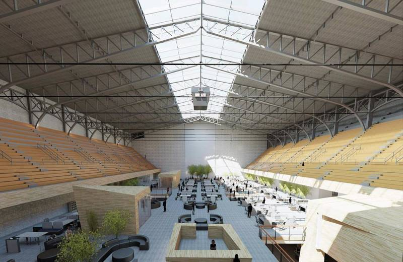 A proposed mixed commercial space in the Oakland Civic Auditorium's large arena.