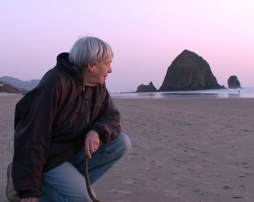 Ursula K. Le Guin on the Oregon Coast during the production of 'Worlds of Ursula K. Le Guin.'
