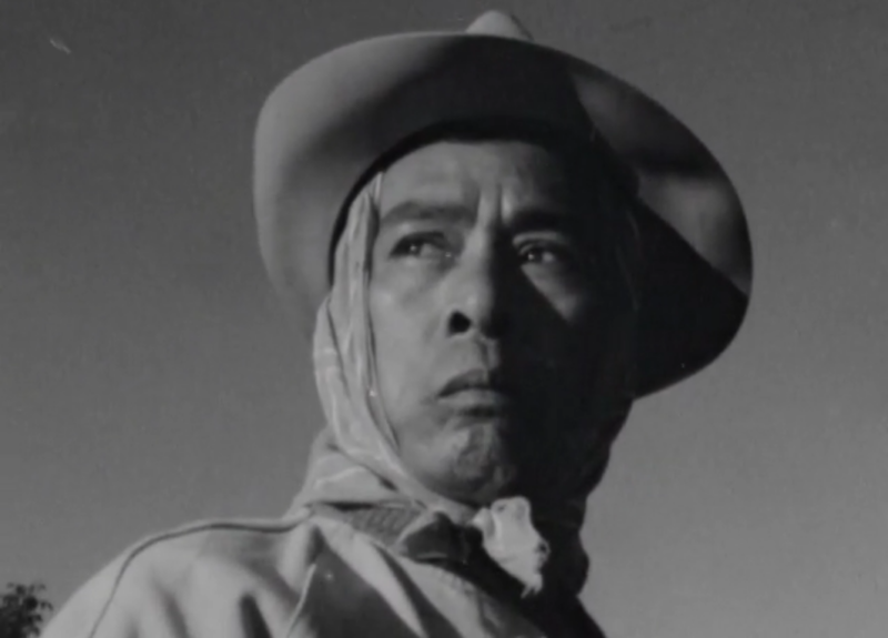 A farmworker depicted in a film from the newly digitized Henry J. Williams Jr. Film Collection.