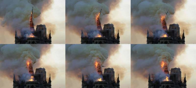 A colossal fire swept through the famed Notre-Dame Cathedral in central Paris causing the spire to collapse and raising fears over the future of the nearly millenium old building and its precious artworks.