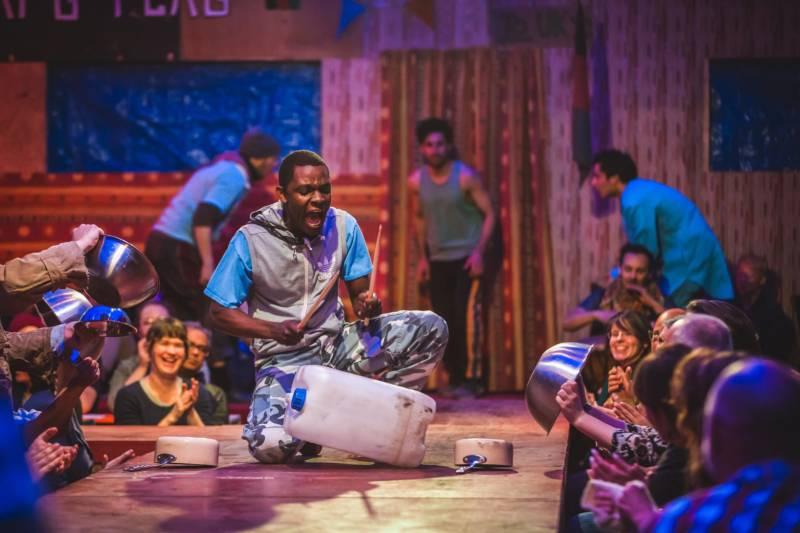 Okot (John Pfumojena) in 'The Jungle' at the Curran Theater.