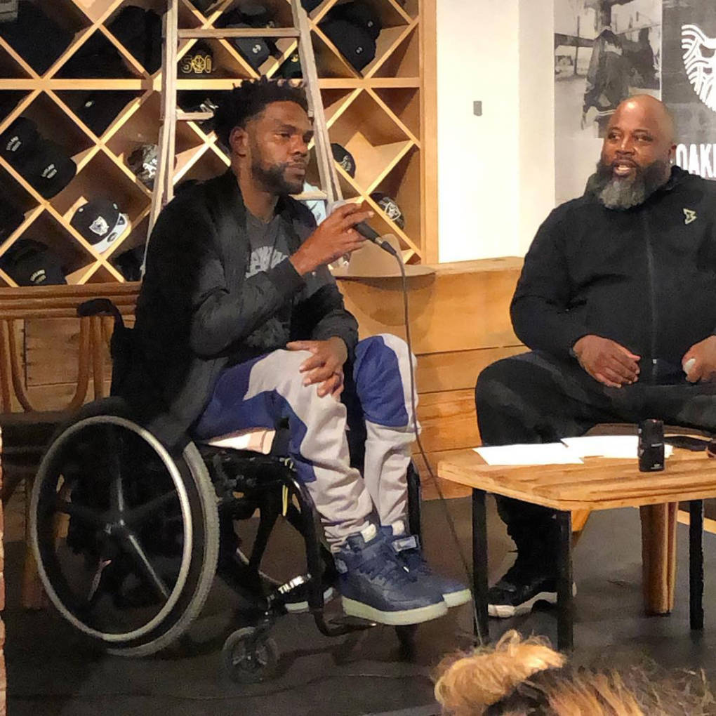 Keak da Sneak (L) speaks at Oaklandish in downtown Oakland with Tyranny of Marketing Kings (R) in March.