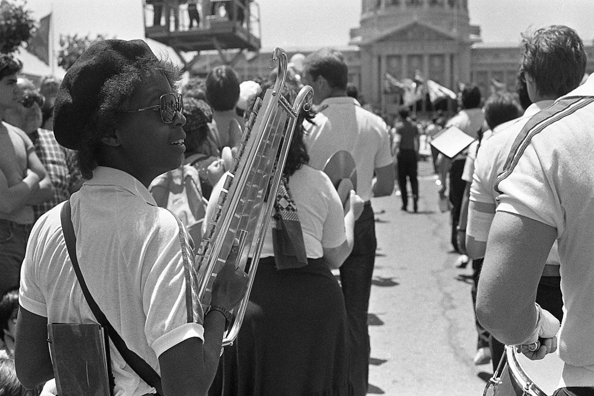 Lenn Keller, 'Black lesbian glockenspiel player w/ SF Lesbian & Gay Freedom Band, SF Pride Parade,' June 1983.