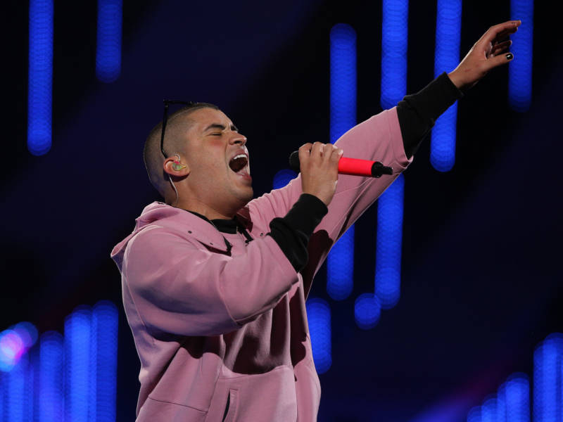 Puerto Rican singer Bad Bunny performs during the 60th Vina del Mar International Song Festival in Vina del Mar, Chile, on March 1, 2019.