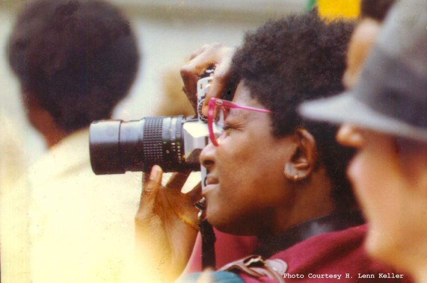 Lenn Keller with her ubiquitous camera in the 1980s.
