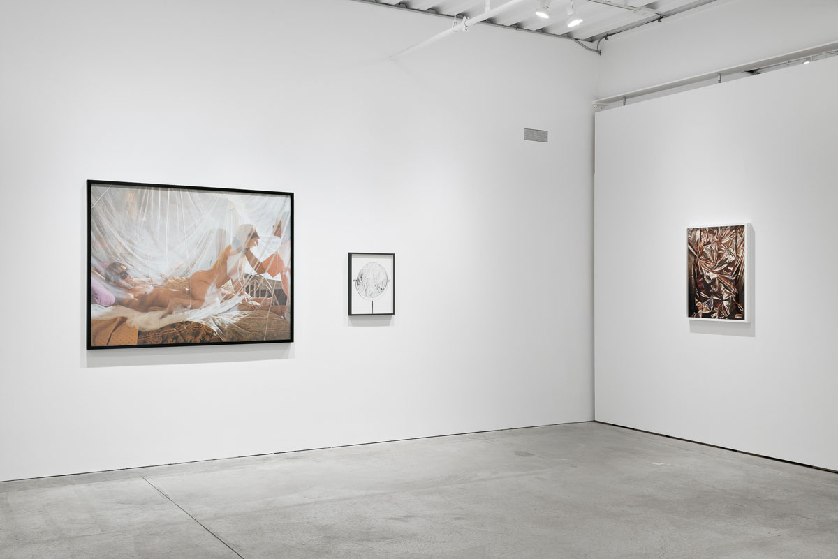 Installation view of 'Handless Operative,' with work by Larry Sultan (left), Jennifer Brandon (center) and Whitney Hubbs (right).