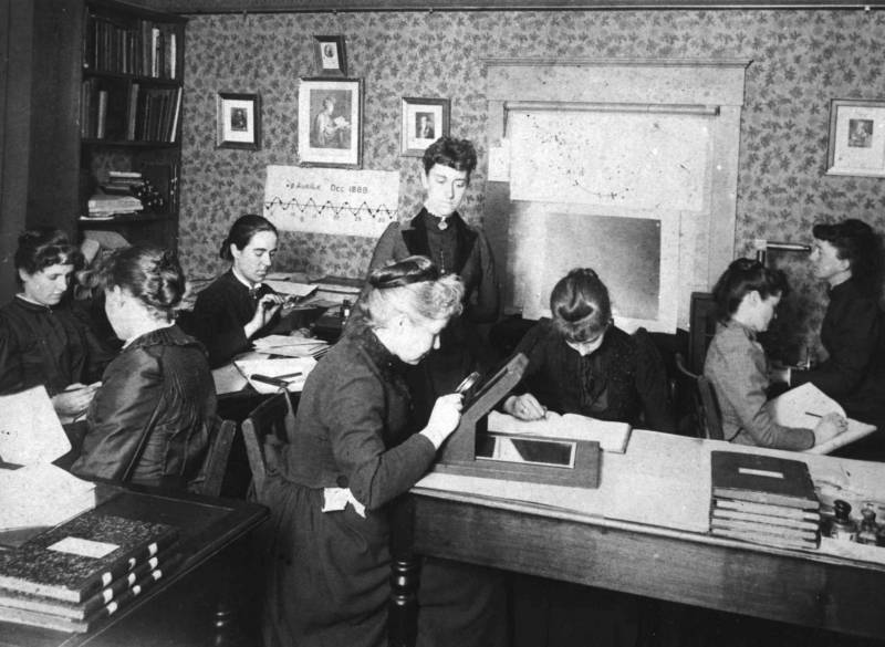 """Pickering's Harem,"" so-called, for the group of women computers at the Harvard College Observatory, who worked for the astronomer Edward Charles Pickering. The group included Henrietta Swan Leavitt, Annie Jump Cannon, and Williamina Fleming."