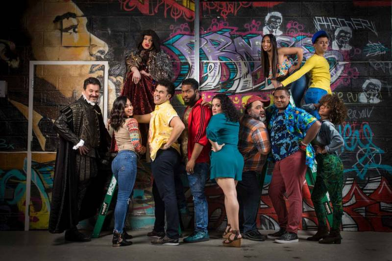 The cast of 'Kiss My Aztec!' at Berkeley Rep, directed by Tony Taccone.