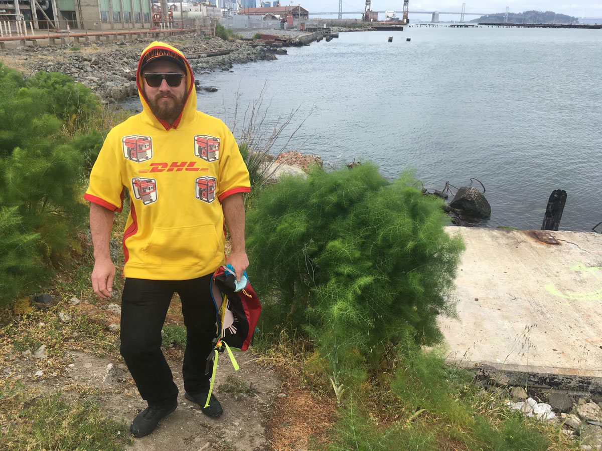Charlie Leese in his customized DHL hoodie, at the site of 'c.p.l.s.s.'