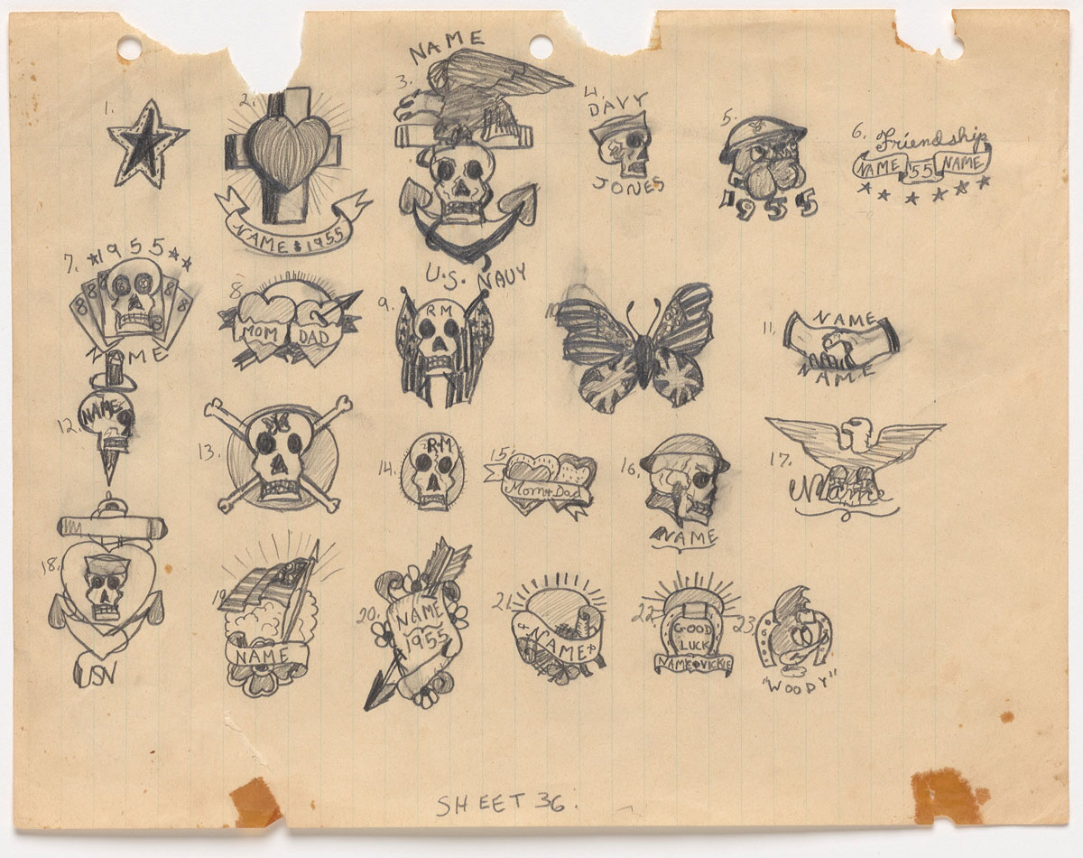 "Don Ed Hardy, Untitled tattoo designs ""36,"" 1955."