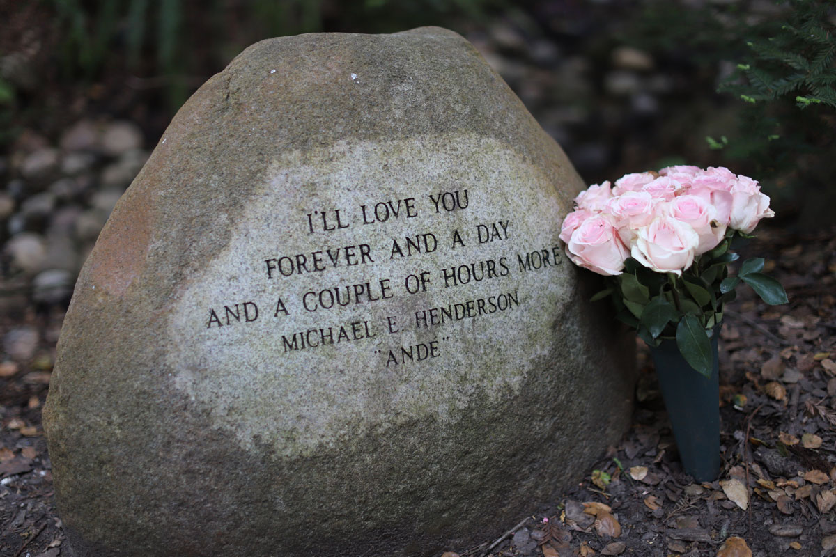 One of the Grove's many memorial engravings in stones.