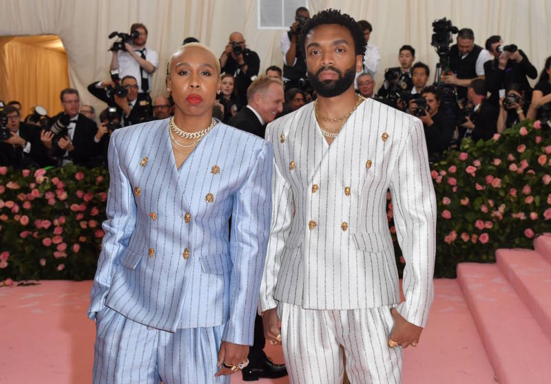Lena Waithe and Kerby Jean-Raymond arrive for the 2019 Met Gala at the Metropolitan Museum of Art on May 6, 2019, in New York.