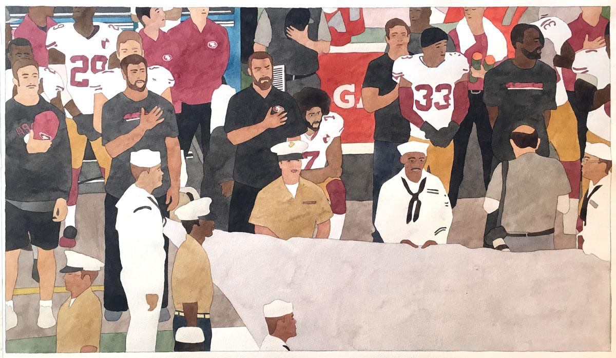 Kota Ezawa, 'National Anthem (San Francisco 49ers),' 2019; watercolor on paper, 16.5 x 29 inches, edition variée of 3.