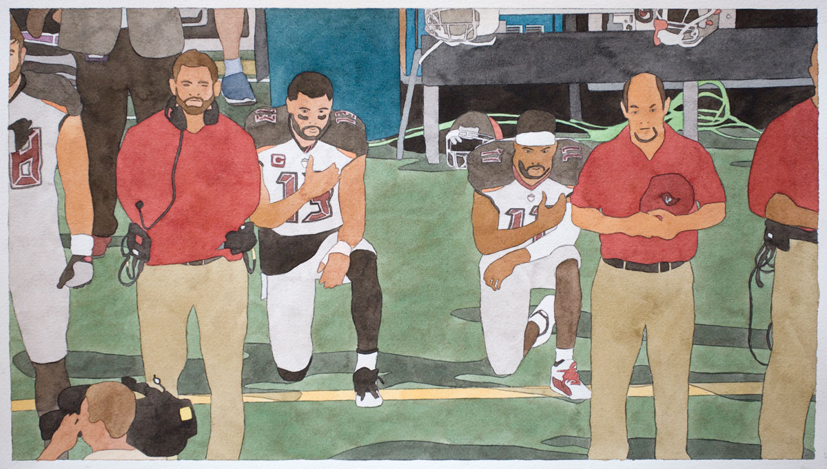 Kota Ezawa, 'National Anthem (Tampa Bay Buccaneers),' 2019; watercolor on paper, 10.5 x 19 inches, edition variée of 3.