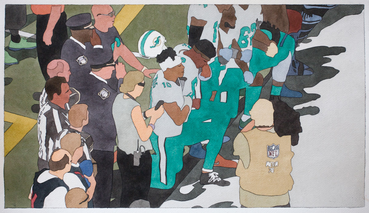 Kota Ezawa, 'National Anthem (Miami Dolphins),' 2019; watercolor on paper, 10.5 x 19 inches, edition variée of 3.