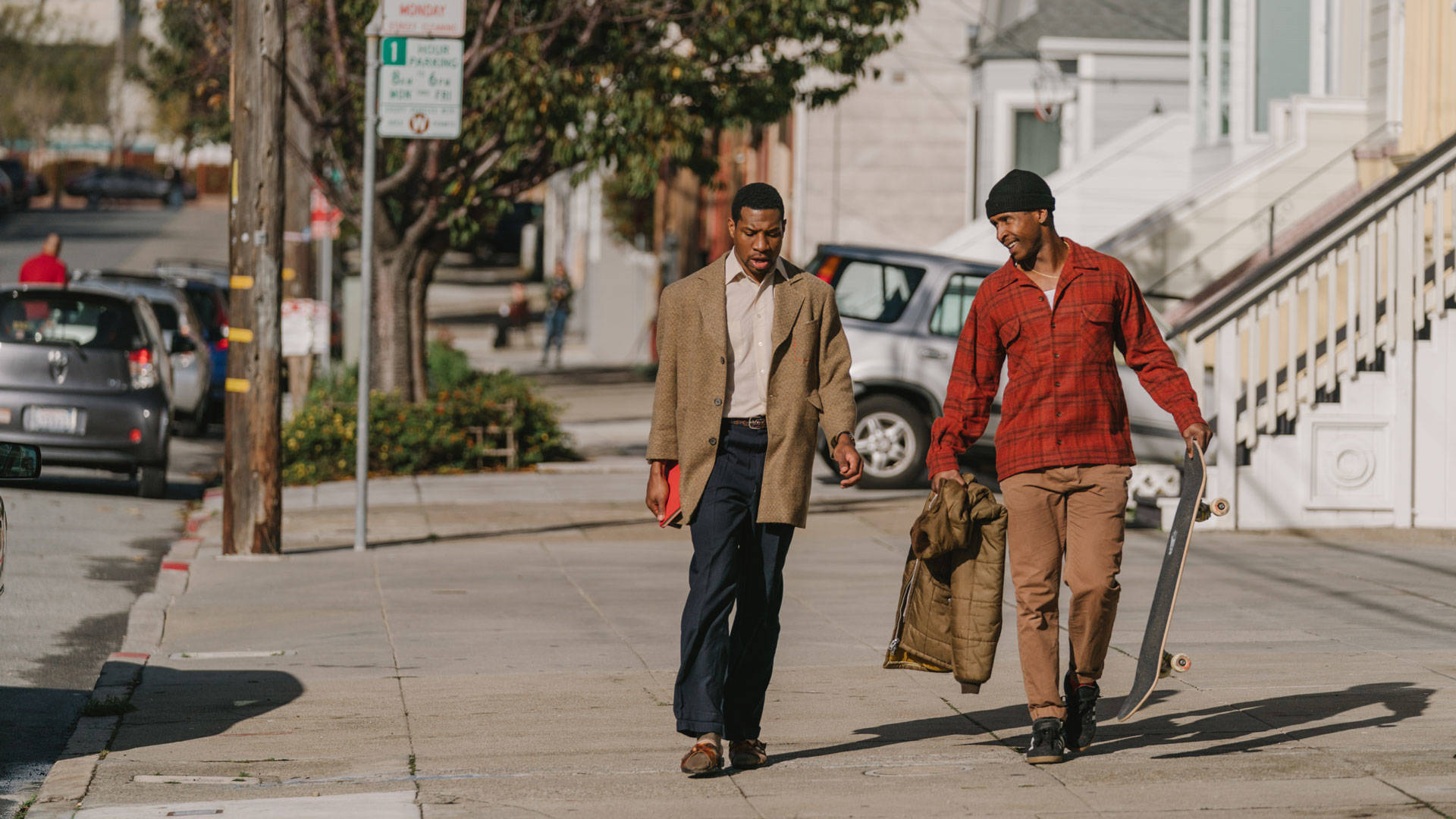 Still from Joe Talbot's 'The Last Black Man in San Francisco,' with Jonathan Majors and Jimmie Fails.  Photo by Peter Prato; Courtesy of A24