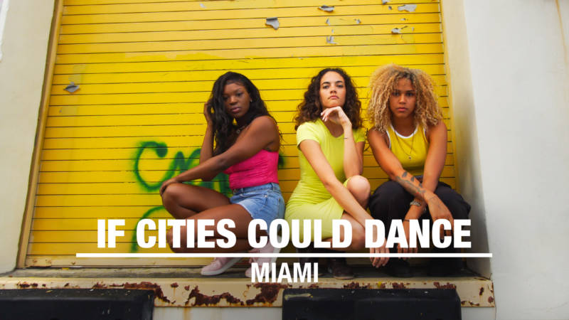 "Members of Alma Dance Theater (from left to right): Cyles Barnes, Jahzel Dotel and Katrina Rose Tandy in front of Martin Whatson's ""Sweeper"" mural in Miami, FL."