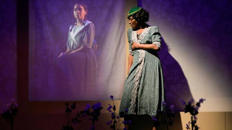 Violet (C. Kelly Wright) speaks to the portrait of Dorcas (Dezi Solèy) in Marin Theatre Co.'s production of 'Jazz.'