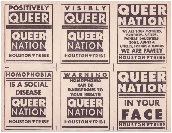 Posters from Queer Nation's Houston chapter.