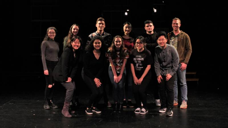 "The cast of ""Manic Monologues,"" a theatre piece exploring 15 different perspectives on mental illness, not unlike ""Vagina Monologues"" did with female sexuality in the 1990s. (Back row, left to right): Audrey Mitchell, Corinne Bernhard, Zack Burton, Rebecca Jia, Grégoire Faucher, Steve Dobbs (Front row, left to right): Dr. Rona Hu, Chloe Harris, Elisa Hofmeister, Khuyen Le, Julie Lee"