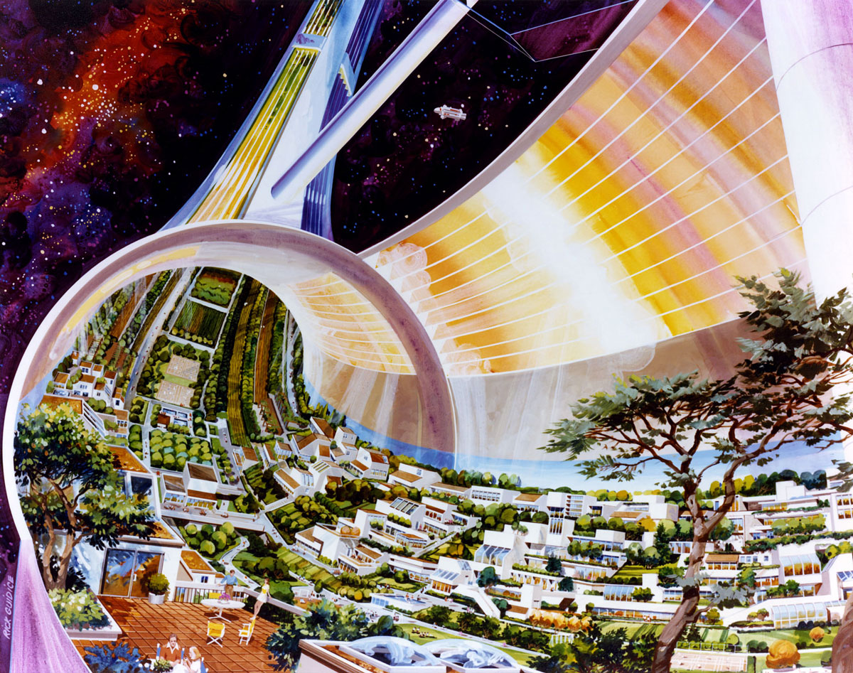 Rick Guidice, Toroidal Colonies, cutaway view exposing the interior, c. 1970s.