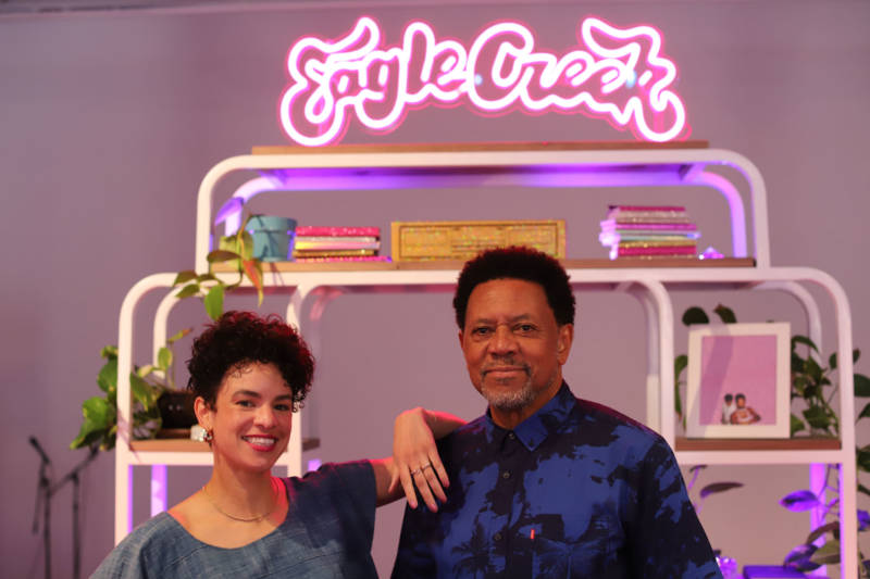 Sadie Barnette (L) used her residency at The Lab to honor San Francisco's first black-owned gay bar the Eagle Creek Saloon, which her father Rodney (R) opened in 1990.