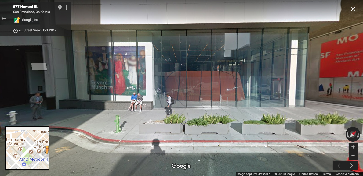 A Google street view glimpse of Leese's 'Stump #1,' 2017 outside of SFMOMA.