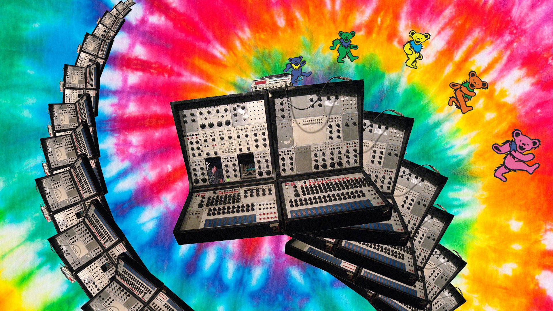 KPIX engineer Eliot Curtis found himself tripping on acid after cleaning a vintage synthesizer from the 1960s. Images: Wikimedia Commons, Shutterstock, Collage: Sarah Hotchkiss