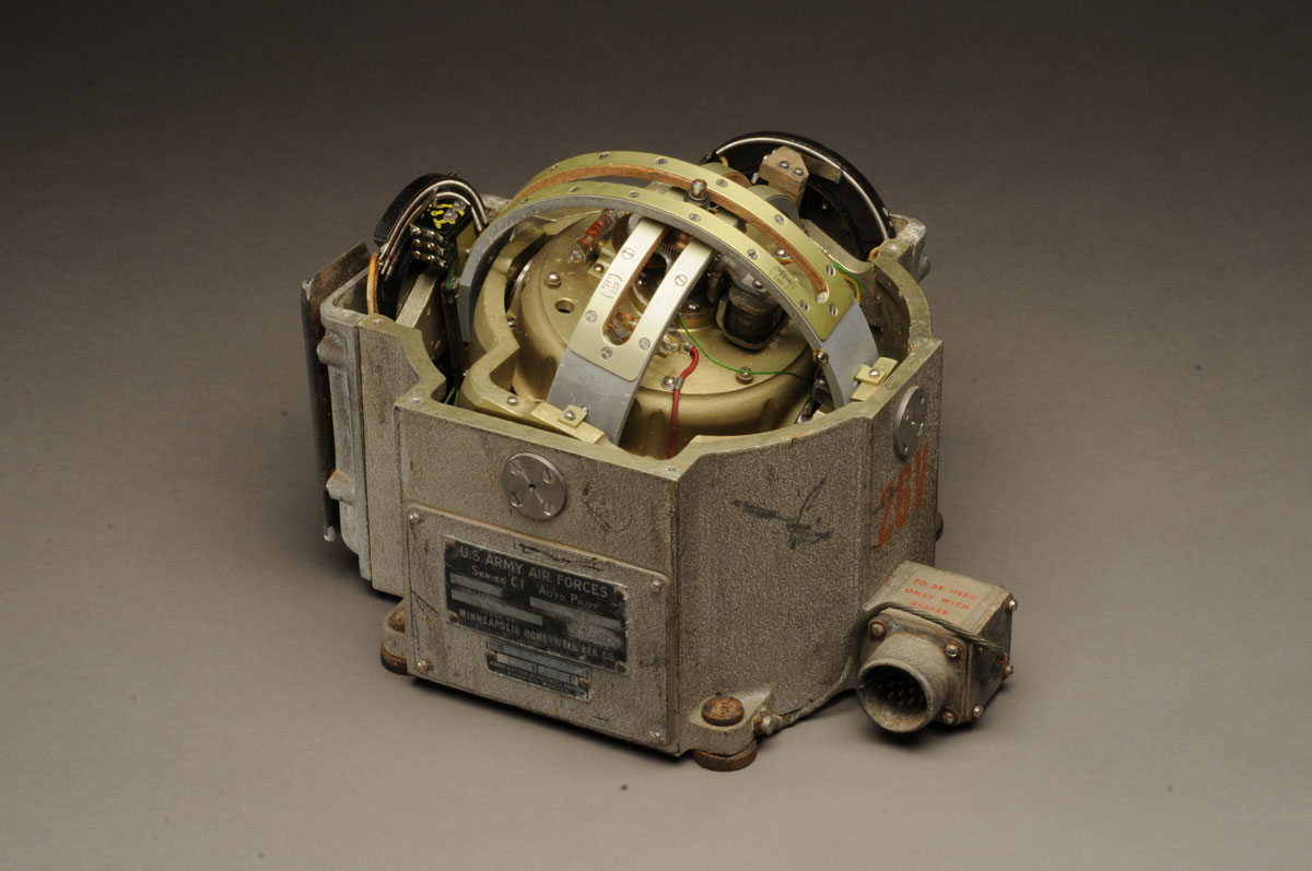 World War II era C1 Pitch/Roll Gyroscope manufactured by Honeywell Corporation, used as part of the autopilot in a B-17 Flying Fortress.