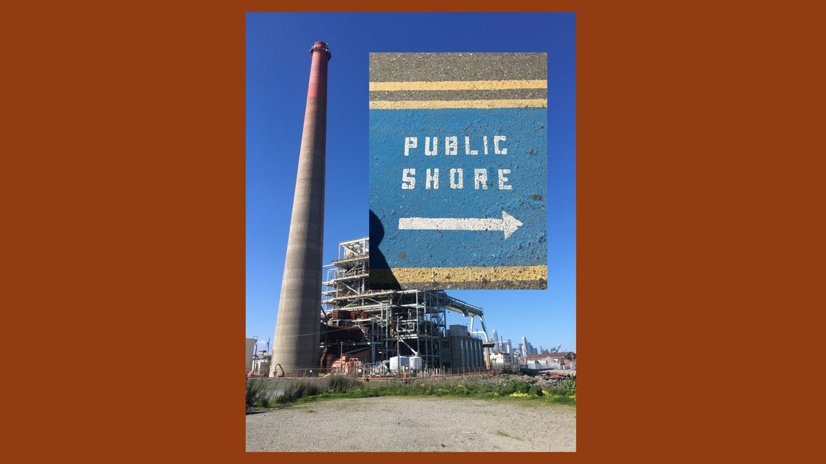 The decommissioned power plant and painted concrete announcing the nearby public shore; a page from the PDF available via Open Space.