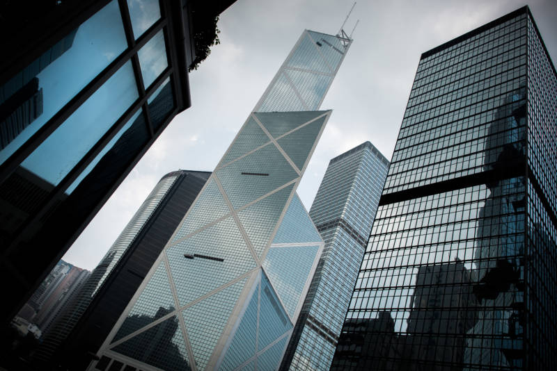 Completed in 1990, the Bank of China Tower is among the tallest skyscrapers in Hong Kong.