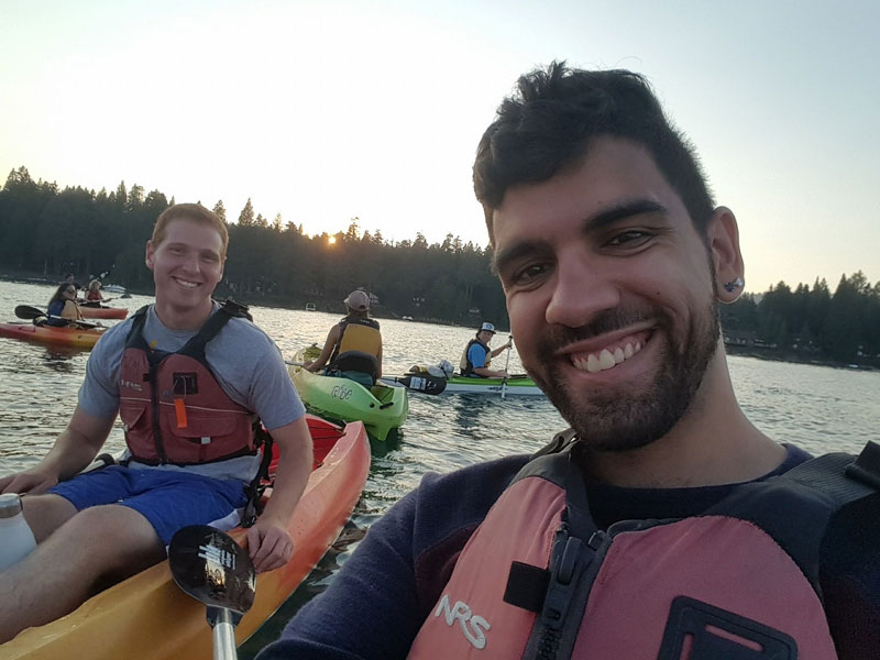 Ryan Levi and Fares Akremi kayak on Lake Tahoe Labor Day weekend 2017.