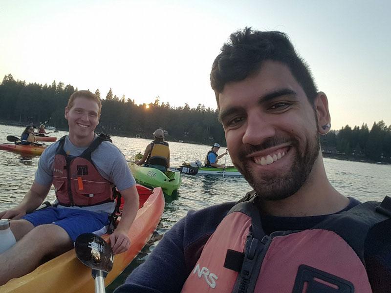 Ryan Levi and Fares Akremi kayak on Lake Tahoe Labor Day weekend 2017.