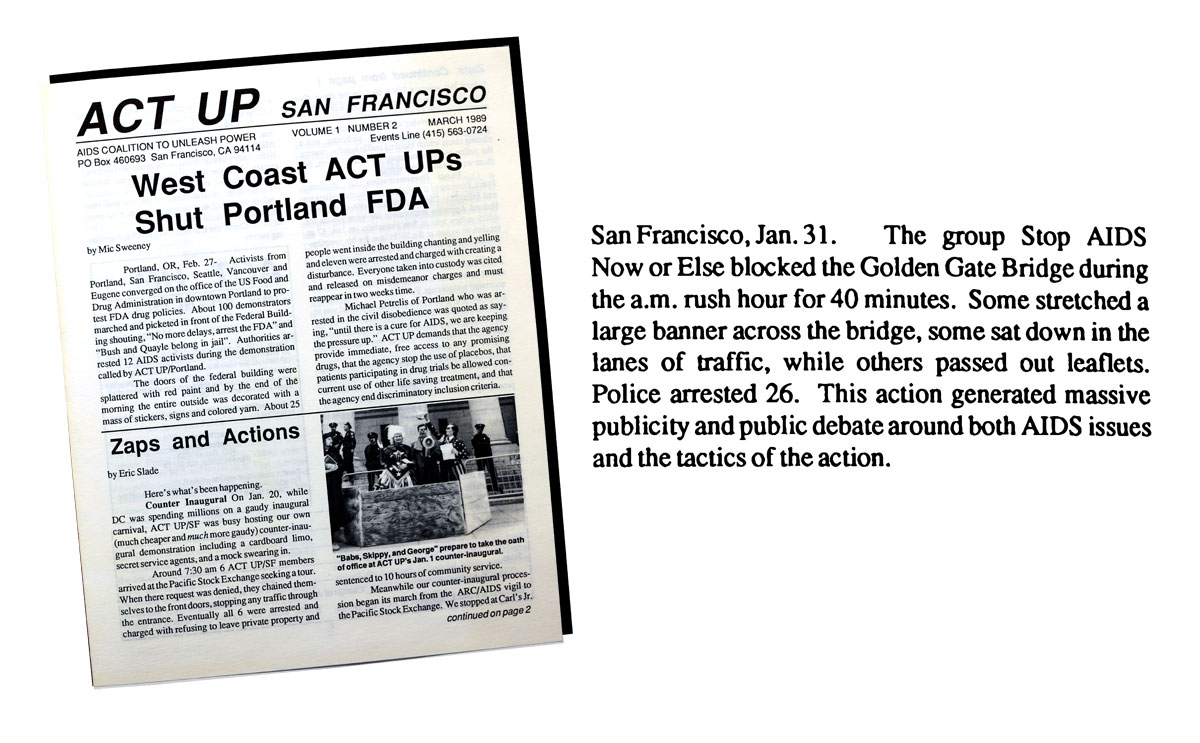 Cover of the ACT UP San Francisco newsletter, March 1989, featuring a short announcement of a Jan. 31 action on the Golden Gate Bridge.