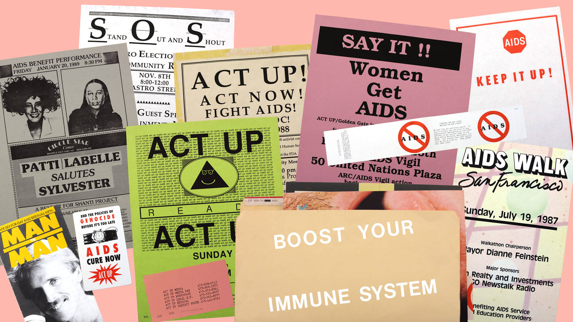 Ephemera from 1980s AIDS activism groups, nonprofits, foundations and related events. Material from the Gay and Lesbian Center ephemera collection and the San Francisco Ephemera Collection, San Francisco Public Library; Collage by Sarah Hotchkiss/KQED