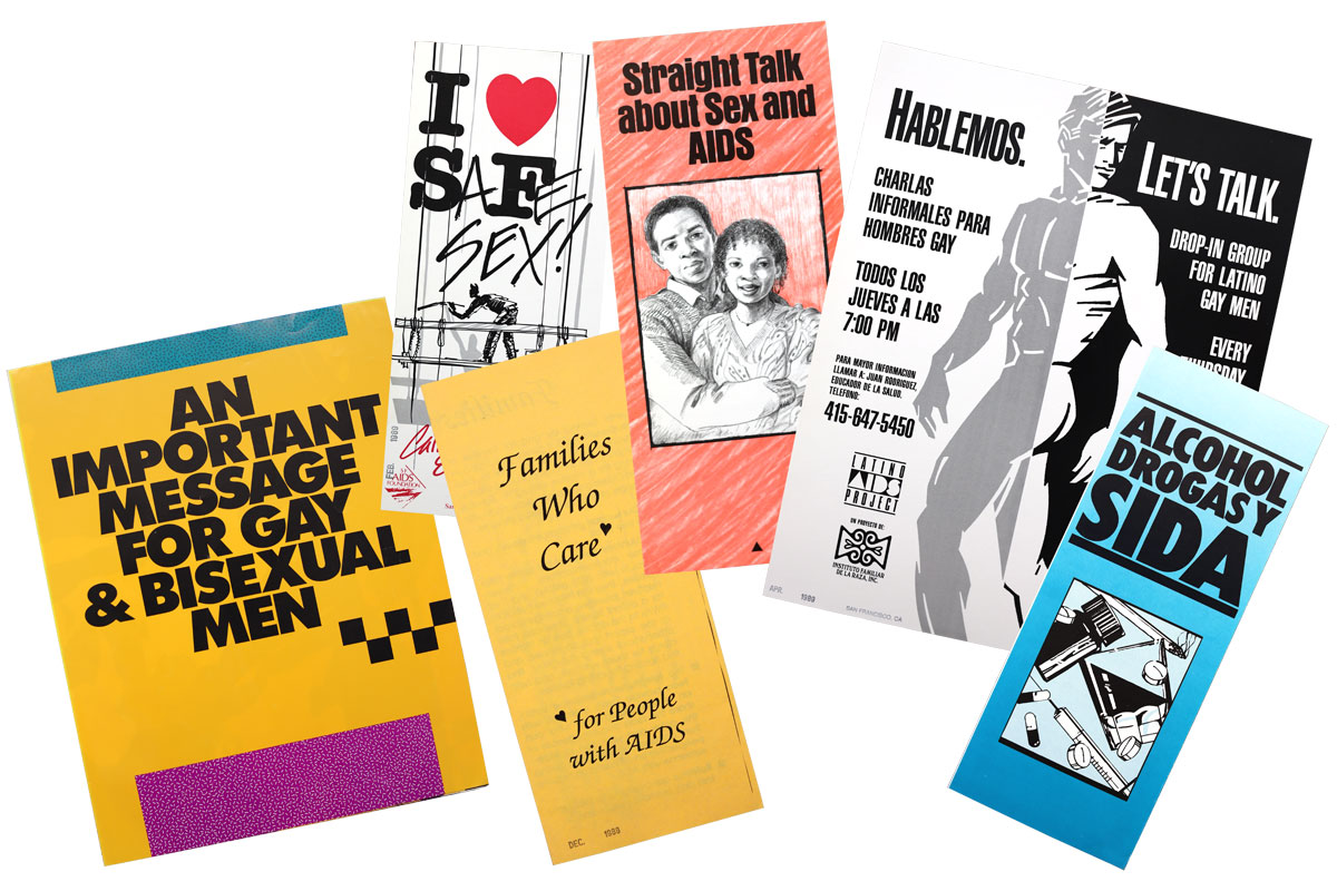 Sex education and risk-reduction pamphlets from the 1980s, many produced by the San Francisco AIDS Foundation.