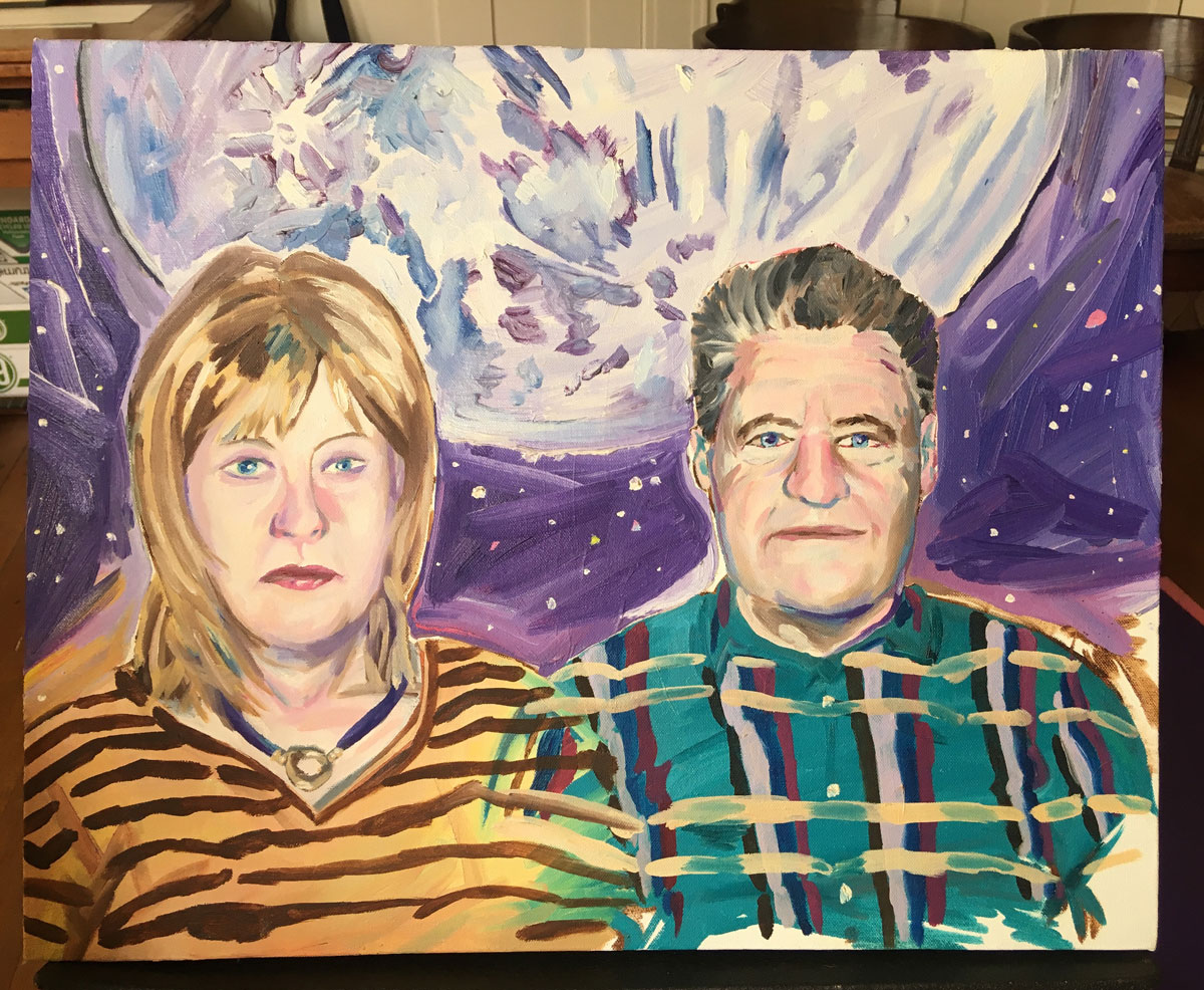 Dodie Bellamy and Kevin Killian in a painting by an unknown artist.