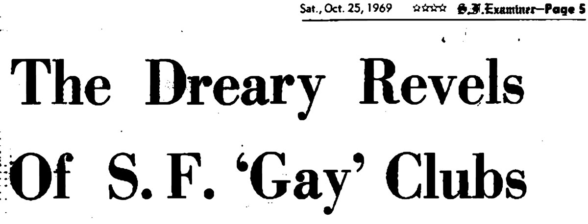 The headline of Robert Patterson's Oct. 25, 1969 article about gay breakfast clubs in the 'San Francisco Examiner.'