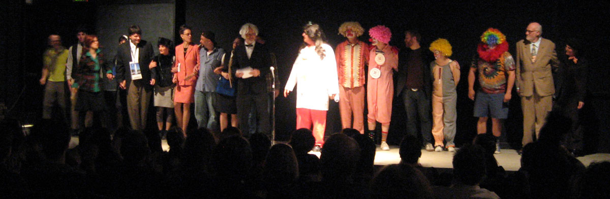 The cast of 'Geyser,' 2008 with Kevin Killian in the white shirt at center.