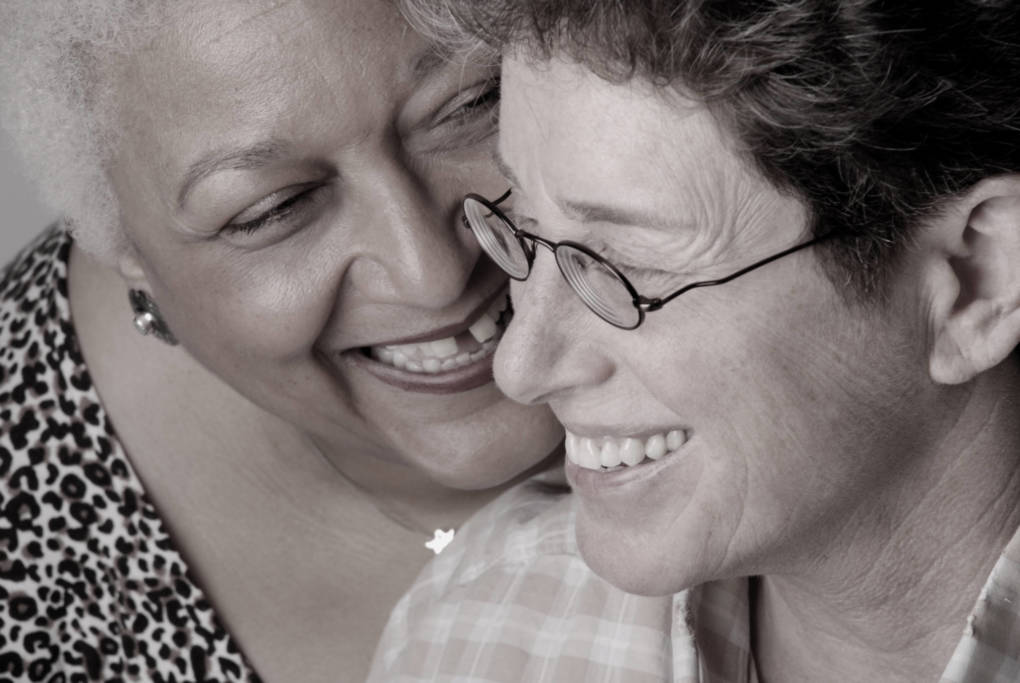 Jewelle Gomez with spouse Diane Sabin in 2013.