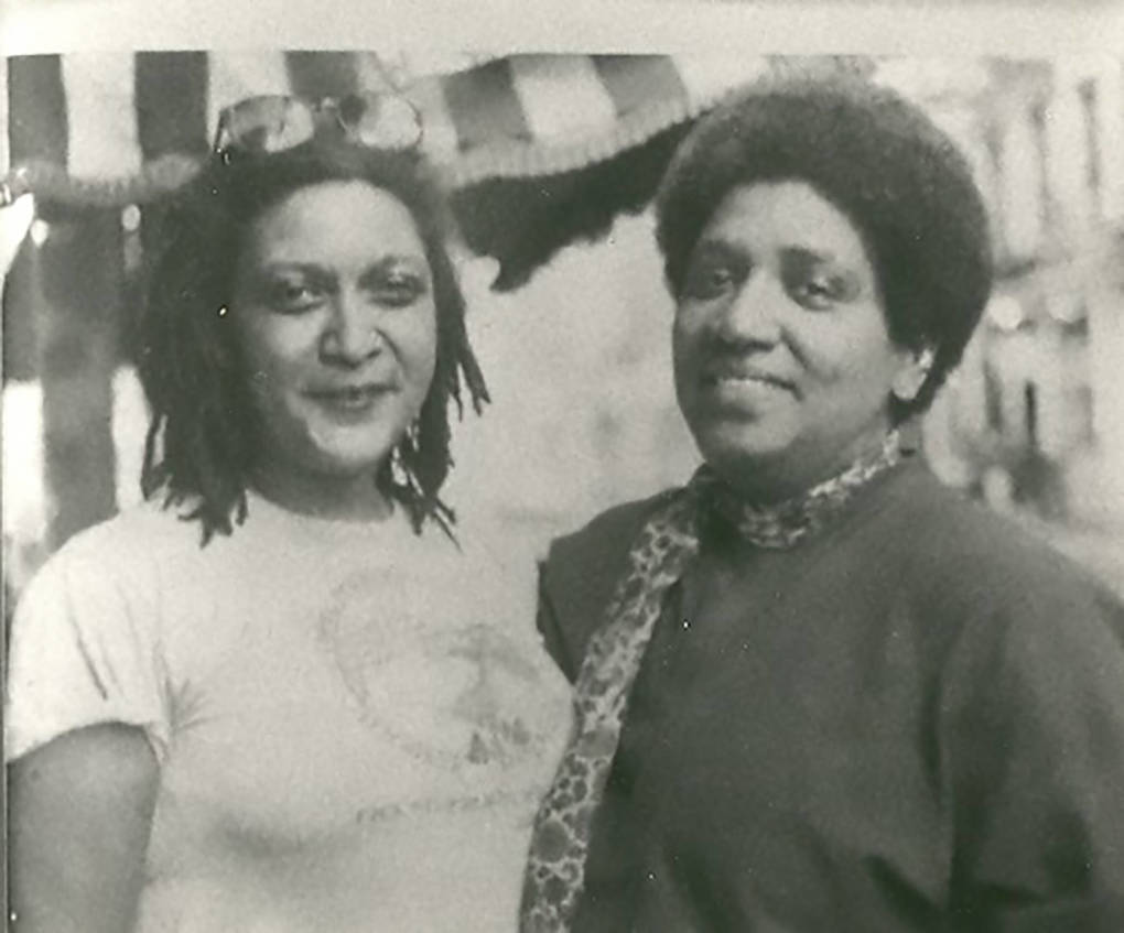 Jewelle Gomez with Audre Lorde, filming 'Before Stonewall' in 1984.
