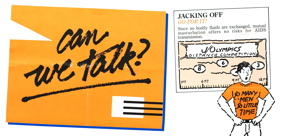 """Can we talk?"" brochure developed by the AIDS Education and Information Committee of the Harvey Milk Gay Democratic club with information from Bay Area Physicians for Human Rights, 1983."