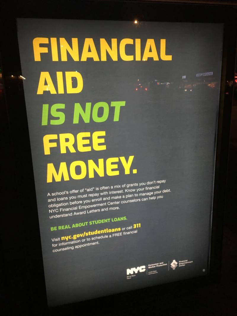 A New York City public service announcement about student loans.