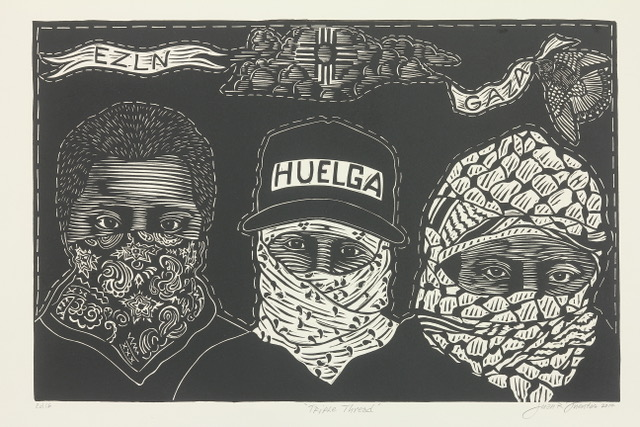 "Juan Fuentes' excluded print depicts a man in a Palestinian keffiyeh below the word ""Gaza."""