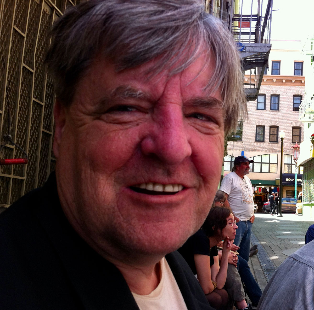 Kevin Killian in Jack Kerouac Alley, 2014.